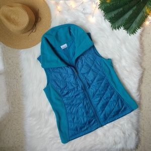 Columbia Collared Puffer Vest in Blue Size Large